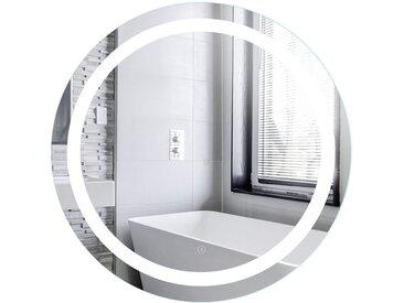 Miroir de Maquillage Miroir Rond Mural + Éclairage LED et Interrupteur Tactile 60*60*4.5cm