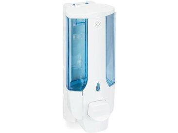 Relaxdays - Distributeur de Savon Mural, porte-savon, pompe, rechargeable, distributeur manuel, 350 ml, blanc/bleu