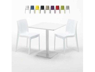 Table carrée 70x70 blanche avec 2 chaises colorées ICE MERINGUE | Blanc