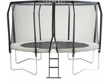 Kangui - Trampoline de jardin rond Ø366cm avec filet de sécurité + échelle - Fabrication européenne - Famili 360 - Beige