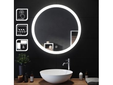 SIRHONA 70x70cm Ronde Lumineuse LED Lumineuse Miroir Miroir de maquillage avec capteur de contr?le tactile, antipoussière et anti-buée, lumière blanche