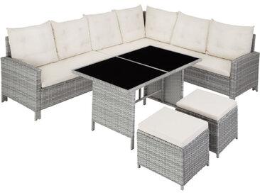 Tectake - Canapé de jardin BARLETTA modulable, variante 2 - table de jardin, mobilier de jardin, fauteuil de jardin - gris clair