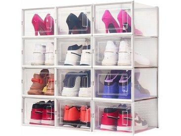 Lot de 12 Boîte à chaussures Transparentes en Plastique, Boîte Rangement Chaussures avec Couvercle, Etagère à Chaussures,M - Meerveil