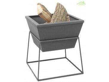 Brasero de jardin carré PESTAK en acier avec ou sans couvercle - Sans couvercle