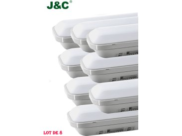8×J&C 36W Tube LED Anti-Choc 120CM Néon Tube LED IP65 Lumière LED 3000LM Blanc Neutre 4000K