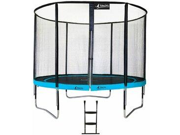 Kangui - Trampoline de jardin rond 305 cm + filet de sécurité + échelle PUNCHI Bleu 300 - Bleu