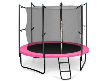 KLARFIT Rocketgirl 250 Trampoline 250cm Filet de sécurité échelle large rose
