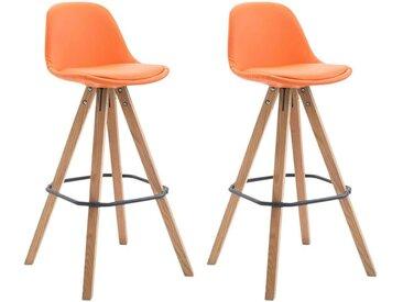 CLP Lot de 2 Tabourets de bar Franklin Similicuir Pieds carrés, orange