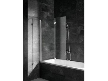 Schulte - Pare-baignoire rabattable 104 x 130 cm, verre 5 mm, paroi de baignoire 2 volets, écran de baignoire pivotant, Komfort profilé blanc - Transparent