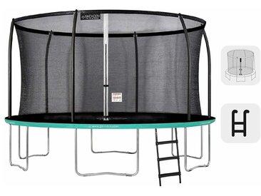 GREADEN Trampoline extérieur rond Freestyle vert 430 + Échelle Pack Plus Fitness jardin Trampoline Ø 427cm