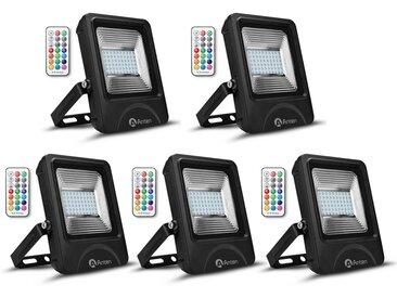 5×Anten 30W RGB Projecteur LED Dimmable IP65 Étanche 16 Couleurs 4 Modes, Spot LED Éxtérieur Ultra-Mince, Lampe Halogène Multicolore Décoration avec Télécommande (Connecteur de cble étanche Fourni)