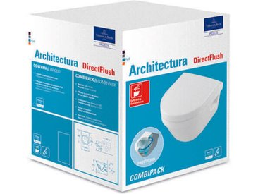 Villeroy & Boch Architectura Combi-Pack Wash-down WC 4687HR avec siège WC, White Alpine, Coloris: Blanc - 4687HR01