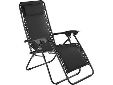 Chaise Longue de Jardin, Fauteuil de Jardin, Bain de Soleil Transat, Chaise de Camping Pliante 63 cm x 87,5 cm x 111 cm Noir