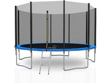Trampoline extérieur Deluxe 12Ft / ø366cm 10 perches KAIA SPORTS Pack trampoline de jardin avec Filet extérieur, mousse de protection, échelle et tapis de saut - Bleu