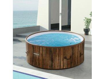 Piscine Spa Pool | Gonflable | Chauffage | Exterieur | Ronde Drop-Stitch - Holzoptik - Arebos