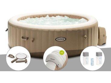 Kit spa gonflable Intex PureSpa Sahara rond Bulles 4 places + Kit d'entretien + 2 appuie-têtes + Kit traitement brome