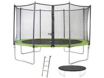 Trampoline TWIN Ø 360cm - Vert - avec filet, échelle, couverture de protection - Kangui