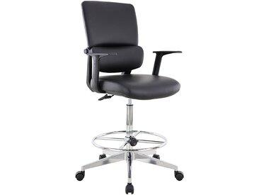 Chaise d'atelier pivotante Parity - habillage cuir et roulettes - Noir - Coloris: noir