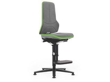 Siège d'atelier NEON avec repose-pieds, assise en Supertec, gris/vert