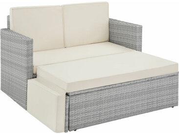 Canapé de jardin CORFOU modulable, variante 2 - table de jardin, mobilier de jardin, fauteuil de jardin - gris clair