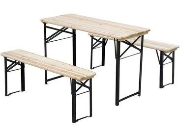 Table de camping pique-nique pliable portable + 2 bancs pliables métal époxy noir bois massif sapin