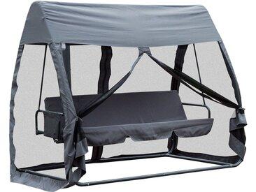 Balancelle de jardin convertible 3 places grand confort : matelas assise dossier, moustiquaire intégrale zippée avec toit, pochette rangement métal époxy polyester gris