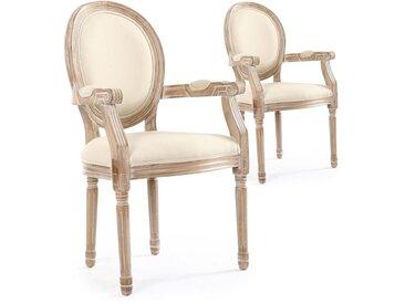 Lot de 2 chaises médaillon Louis XVI Cosy Tissu Beige