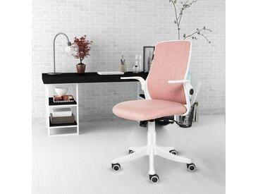Chaise de bureau Ergonomique Chaise pivotante avec accoudoirs pliants Rose - Pink