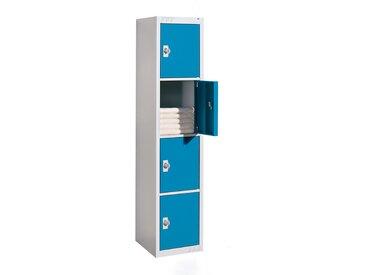 QUIPO Vestiaire métallique verrouillage par cadenas - 4 compartiments, largeur 450 mm - élément de base, porte bleu