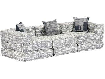 Hommoo Canapé-lit modulaire à 3 places Gris clair Tissu HDV14440