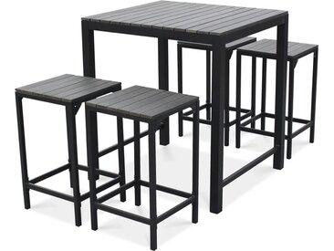 Table haute de jardin 4 places aluminium et polywood - Gris