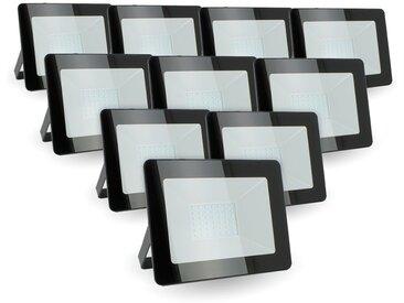 Lot de 10 projecteurs LED 30W IP65 extérieur | Température de Couleur: Blanc froid 6400K