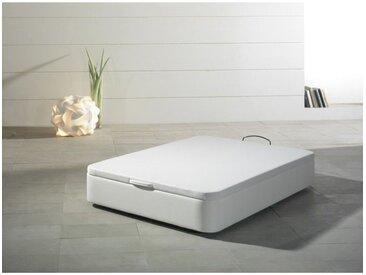 Sommier coffre tapissier 140x190cm en simili-cuir blanc TAHI - L 190 x l 140 x H 32