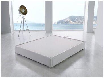 Sommier coffre tapissier 140x190cm en simili-cuir blanc CHELLE - L 190 x l 140 x H 29