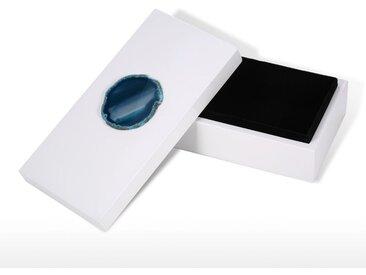 Rectangulaire Boite a Bijoux, Bleu Agate, Decoration En Bois