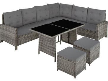 Canapé de jardin BARLETTA modulable, variante 2 - table de jardin, mobilier de jardin, fauteuil de jardin - gris/beige