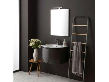 Armoire De Toilette Avec Lavabo Suspendu Gris Brillant Miroir Rectangulaire Riva