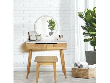 Coiffeuse LED Lumière Dimmable Table de Maquillage avec Miroir et Tabouret Table de Maquillage avec Tiroirs coulissants
