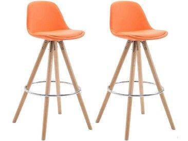 CLP Lot de 2 Tabourets de Bar Franklin Similicuir pieds ronds, orange