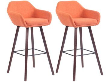 CLP Set de 2 tabourets de bar Adelaide tissu , orange