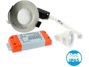 Spot LED salle de bain complet IP65 Acier Bossé 82mm + Ampoule GU10 | Blanc chaud 3000K