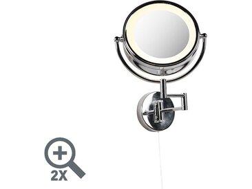 LED Commutateur à tirette en acier chromé pour miroir de maquillage rond x2 - Vicino Qazqa Moderne Luminaire interieur IP44