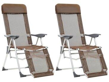 Hommoo Chaises de camping pliables 2pcs et repose-pied Taupe Aluminium