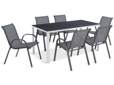 Table de jardin SUNY 156 cm blanc et gris foncé