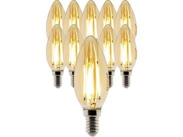 Lot de 10 ampoules Déco filament LED ambrée Flamme 4W E14 400lm 2500K