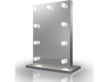 Miroir de Maquillage Hollywood Diamond X Bordure Argent LED Blanc Chaud k82MWW - Couleur LED : Ampoules LED blanches chaudes