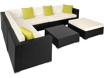 Tectake - Canapé de jardin MARBELLA modulable 7 places, variante 2 - table de jardin, mobilier de jardin, fauteuil de jardin - noir