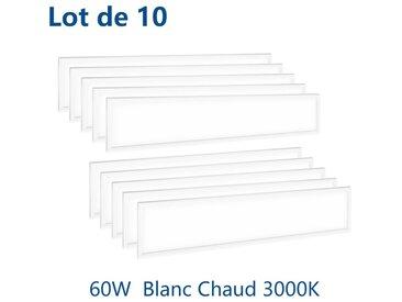 10×Anten 60W Dalle LED Panneau Luminaire LED 120*30CM Plafonnier Dalle Lumineuse Blanc Haute Luminosité Basse Consommation d'Énergie Blanc chaud 3000K