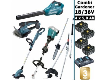 Pack 18/36V Combi Gardener: outil multifonction avec 4 accessoires + tronçonneuse 36V 35cm + coupe herbe 18V + taille herbe 18V + 4 batt 5Ah MAKITA DUX60 DUB362 DUR181 DUM604