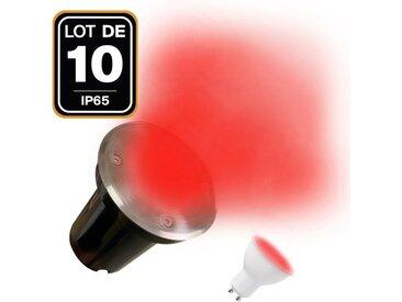 10 Spots Encastrables de Sol Rond Inox 304 Exterieur IP65 + Ampoules GU10 7W ROUGE